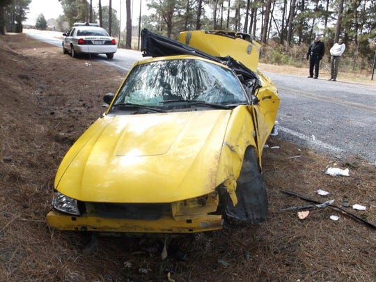 A Mustang involved in a fatal Simpson County crash.
