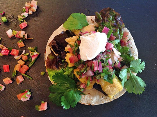 Cornmeal Encrusted Fish Tacos are adorned with rhubarb