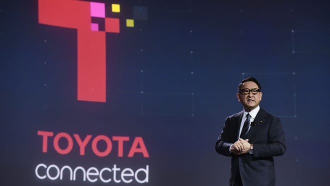 Toyota Motor Corporation President Akio Toyoda speaks during the Toyota press conference at the Mandalay Bay Convention Center during CES 2018 in Las Vegas on January 8, 2018.