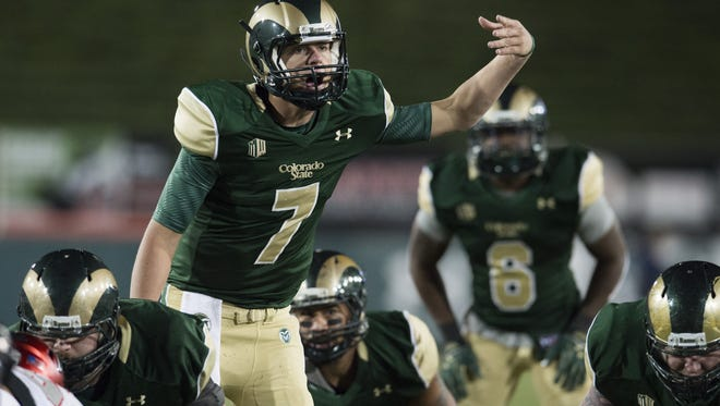 Quarterback Nick Stevens calls out signals before the snap during CSU's Nov. 14 game at Hughes Stadium. CSU will have at least 10 games this fall televised by a regional or national network.