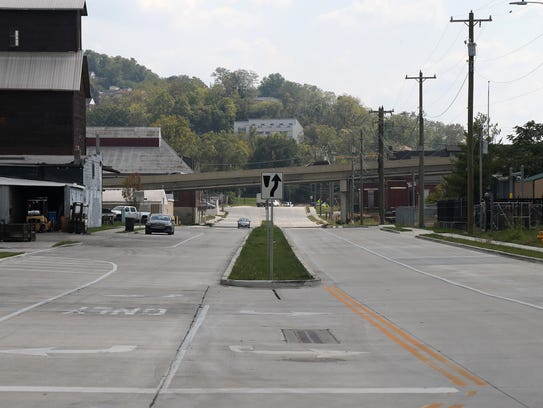 View looking south of a 1.4-mile stretch of new highway,