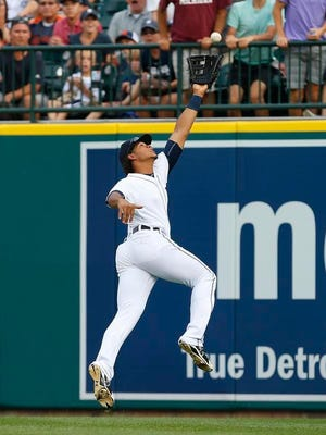 Tigers right fielder Steven Moya can't reach an RBI double by Seattle's Ketel Marte during the second inning in Detroit Monday.