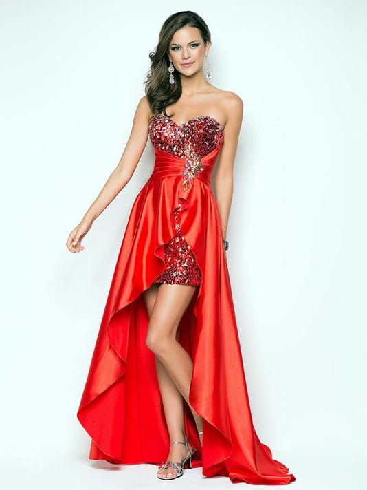 """38037e75fe """"High-low"""" dresses are very popular this prom season. (Photo  Courtesy of  8wd.com )"""