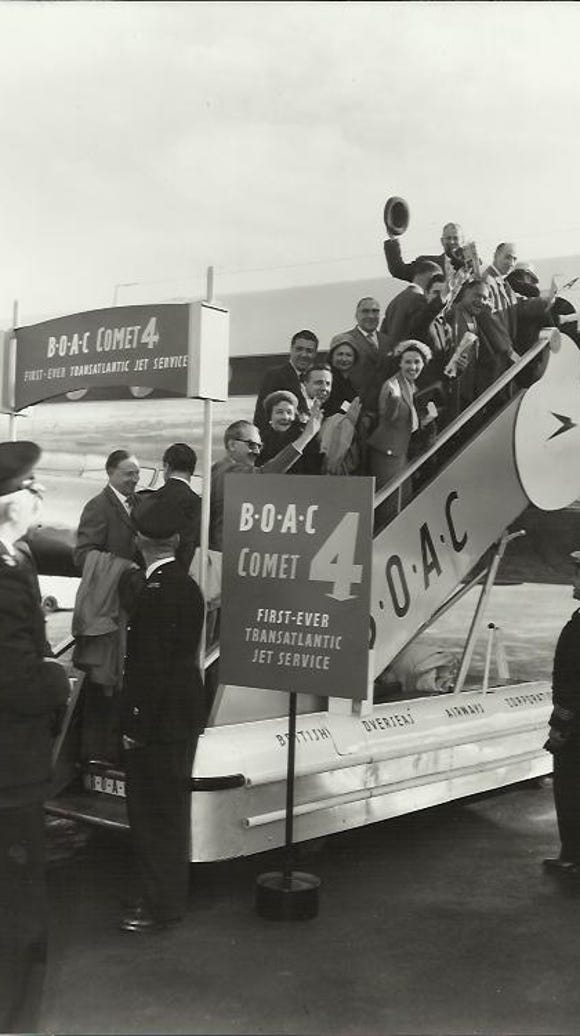 A historical photo shows a BOAC De Havilland DH106