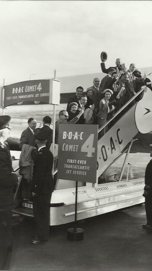A historical photo shows a BOAC De Havilland DH106