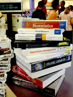 Textbooks at the University of Texas at Dallas bookstore in Irving, Texas.