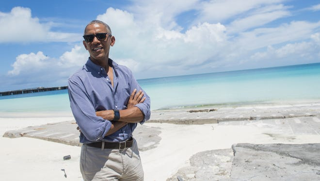 President Obama tours Midway Atoll in the Papahanaumokuakea Marine National Monument in the Pacific Ocean Thursday.