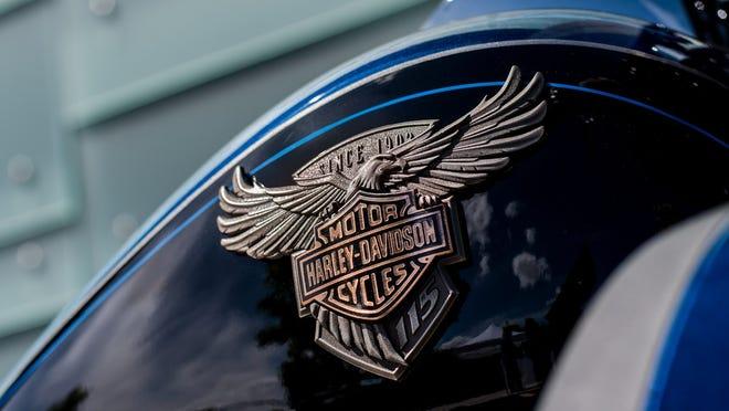 Harley-Davidson logo on motorcycle gas tank