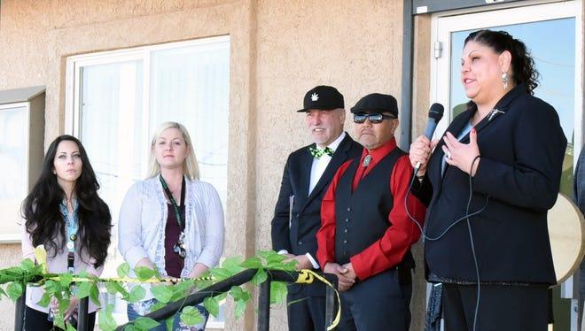 Yerington Paiute Tribe Chairman Laurie Thom speaks to those assembled at the Pesha Numma Marijuana Dispensary grand opening in Yerington on Saturday, Feb. 17, 2018.