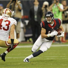 HOUSTON, TX - AUGUST 28: Travis Labhart #19 of the Houston Texans returns a punt as he looks to avoid a tackle by Craig Dahl #43 of the San Francisco 49ers at Reliant Stadium on August 28, 2014 in Houston, Texas. (Photo by Bob Levey/Getty Images)