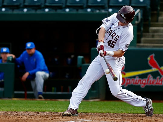 Missouri State Bears infielder Ben Whetstone (45) hits a single to bring infielder Jeremy Eierman (not pictured) home during sixth inning action of the NCAA baseball game between the Missouri State Bears and the Memphis Tigers at Hammons Field in Springfield, Mo. on March 17, 2017. The Missouri State Bears won the game 9-5.