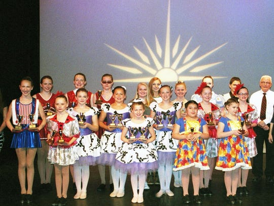 The Diane Remy School of Dance and Baton of Sheboygan and Kiel has been involved with the Wisconsin Education of Music Club Gold Cup Program for 27 years with a record of 27 awards given in 2016. Students take exams each year and earn points toward a gold cup award. Fifteen points and minimum of three years study is the criteria for the first cup, 30 points for the second and 45 points for the third. Each of the dancers depicted received an award — 14 received their first gold cup, 10 received their second and a trio received their third.