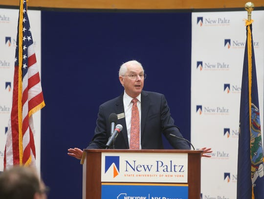 SUNY New Paltz President Donald Christian speaks during