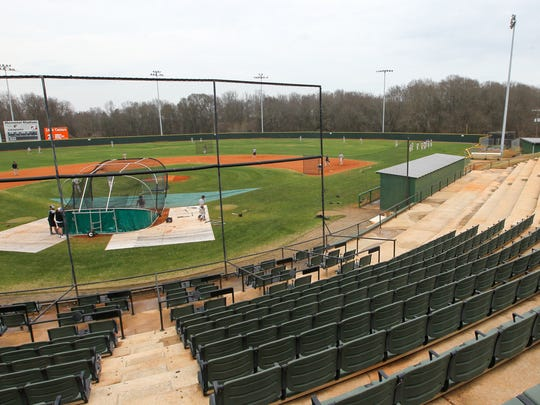 Anderson University baseball practices and plays starts their season in February at Memorial Stadium in Anderson.