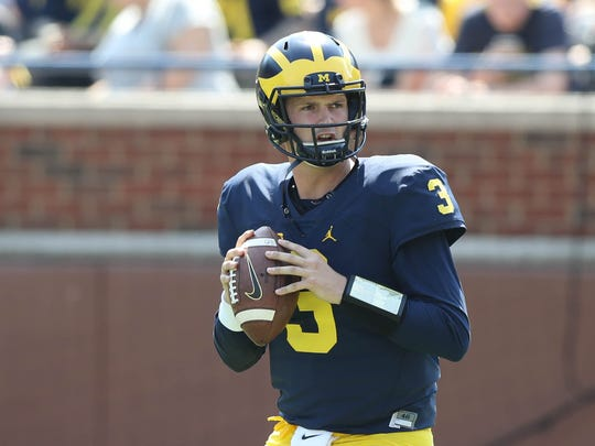 Michigan quarterback Wilton Speight in the spring game
