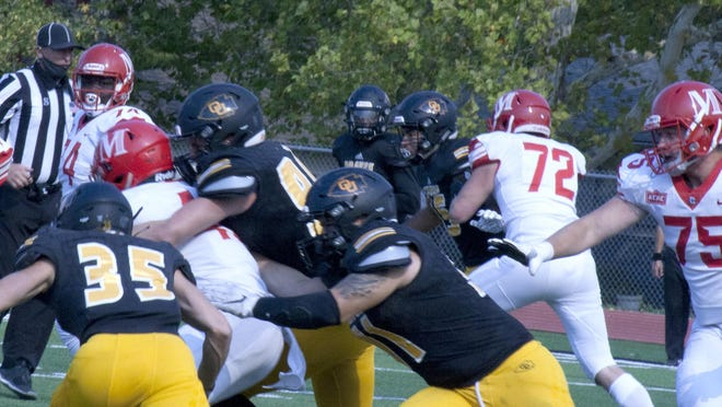 The Ottawa University defense's gang tackle mentality will be key in Saturday's game in Salina against the high-powered Kansas Wesleyan offense.