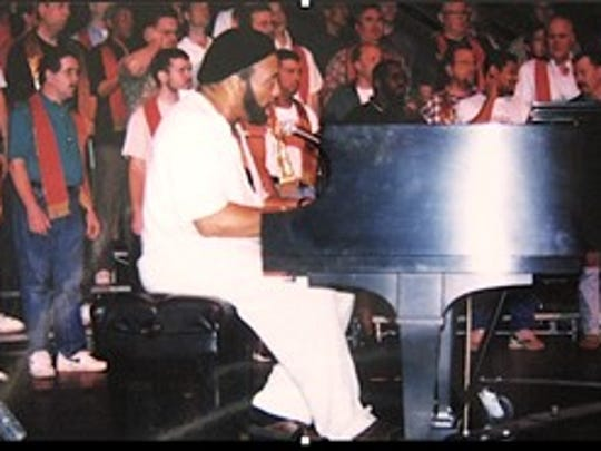 """Gospel Singer Andrae' Crouch is the guest artist for """"Glory."""" Jarson-Kaplan Theatre, March 28, 1998."""