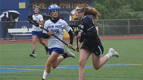 Pelham's Lucy Conway (r) carries the ball as Hen Hud's Katherine Warner (l) defends. Photo from May 19, 2018.