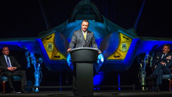 Rep. Trent Franks addresses the Luke Air Force Base F-35 Lightning II Unveiling Ceremony in Glendale, Ariz.,  March 14, 2014.