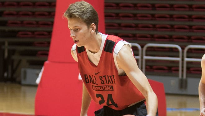 Zach Hollywood practices at Worthen Arena last season.  Don Rogers/Ball State University Zach Hollywood practices at Worthen Arena last season.