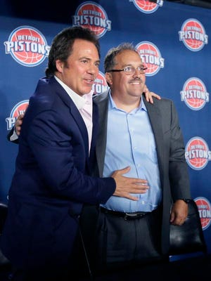 Tom Gores, Detroit Pistons team owner, left, stands with Stan Van Gundy after introducing him as the Detroit Pistons' newest head coach at the Palace in Auburn Hills on Thursday. Van Gundy signed a five-year, $35 million deal.