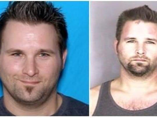 Jarrod Wells, in DMV photo, left, and mug shot, right