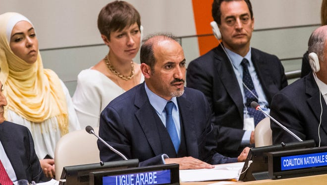 Ahmed Asi Al-Jerba, president of the Syrian Opposition Coalition, speaks at the Friends of the Syrian People meeting on the sidelines of the 68th United Nations General Assembly on September 26, 2013 in New York City.