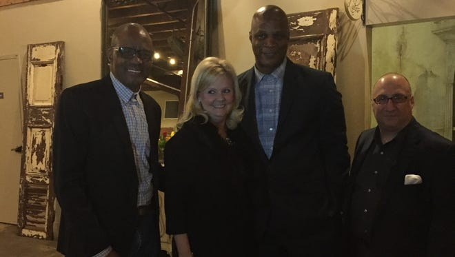From left to right: Ronald Dock, who serves as the New York Yankees' Intervention coordinator, Ruth Ann Rigby, who was honored as the Bronze Key Award Recipient on Thursday night at A Night of Honor, Darryl Strawberry and his manager John Luppo pose for a picture before Thursday's events.