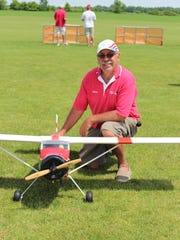 Armond Pahnke takes a break from the action at the Fond du Lac Aeromodelers air show.