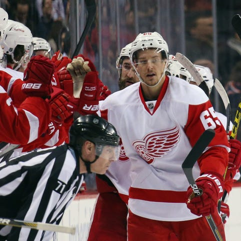 Danny DeKeyser of the Detroit Red Wings celebrates his second period goal against the New York Islanders at the Barclays Center on January 25, 2016 in the Brooklyn borough of New York City.