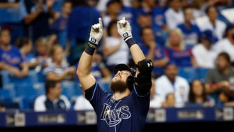 Sep 20, 2017; St. Petersburg, FL, USA; Tampa Bay Rays right fielder Steven Souza Jr. (20) points up as he runs around the bases after hitting a home run against the Chicago Cubs at Tropicana Field. Mandatory Credit: Kim Klement-USA TODAY Sports