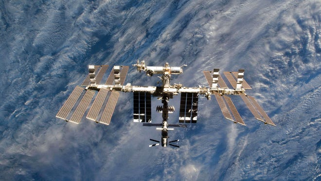 A close-up view of the International Space Station.