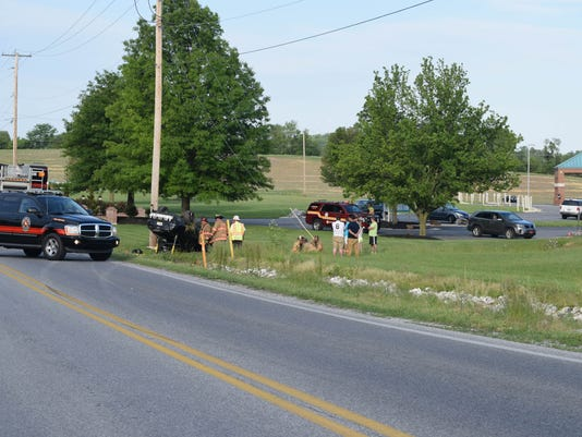 Two were transported to the hospital after a Sunday evening crash on Stillmeadow Lane in Manchester Township.