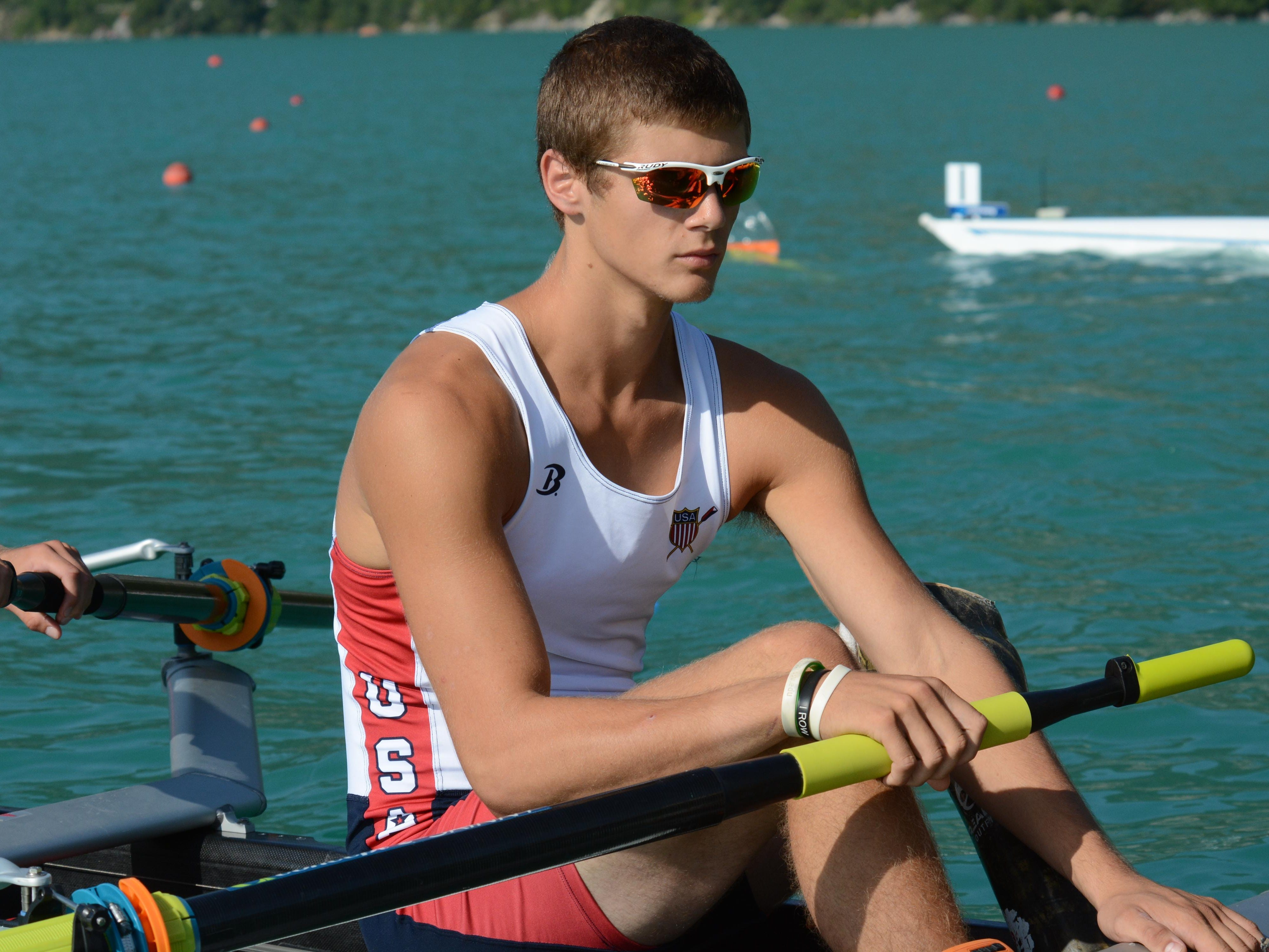 Bethel native Ricky Vandegrift recently competes in a heat in the ParaRowing World Championship.
