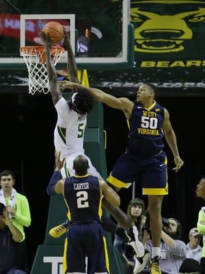Baylor forward Johnathan Motley goes to the basket against West Virginia during the second half at Ferrell Center in Waco, Texas.