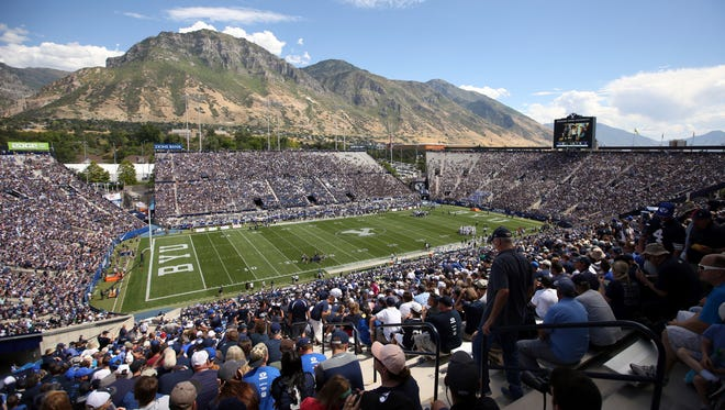 LaVell Edwards Stadium is shown in the first half during an NCAA college football game between BYU and Portland State, Saturday, Aug. 26, 2017, in Provo, Utah. (AP Photo/Rick Bowmer)