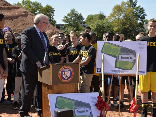 AMS Cricket Field - Ground Breaking - Students 9-12-14