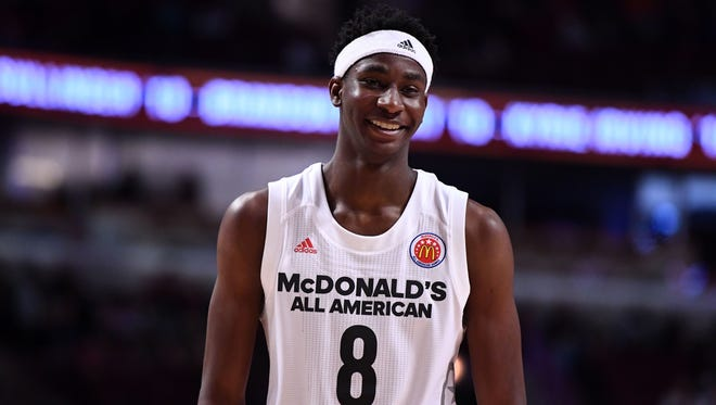 Mar 29, 2017; Chicago, IL, USA; McDonalds High School All-American forward Jaren Jackson Jr. reacts during the second half at the United Center.