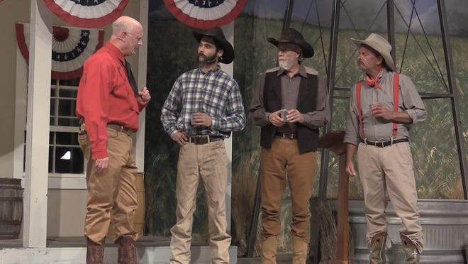 """C.W. Post, played by Ron Meadows, left, instructs his hired hands, Cooney (played by Michael Williams), Red (played by David Burk), and Dub (played by Jay Young) in """"Ragtown!"""" The musical opened Saturday at Ragtown Gospel Theater in Post with a total of eight scheduled performances. Written by Chip Polk and directed by Glenn Polk, """"Ragtown!"""" is based on the 1907 founding of the cereal inventor's utopian city on the South Plains."""