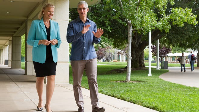 At Apple's headquarters in Cupertino, Calif., on July 15, Apple CEO Tim Cook and IBM CEO Ginni Rometty announced a partnership.