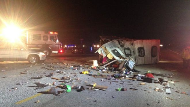 Five people were involved in a crash involving an SUV and an RV on Thursday evening.