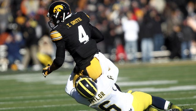 Iowa's Tevaun Smith broke out in a big way in Iowa's 2013 win over Michigan, finishing with five catches for 97 yards and a touchdown.