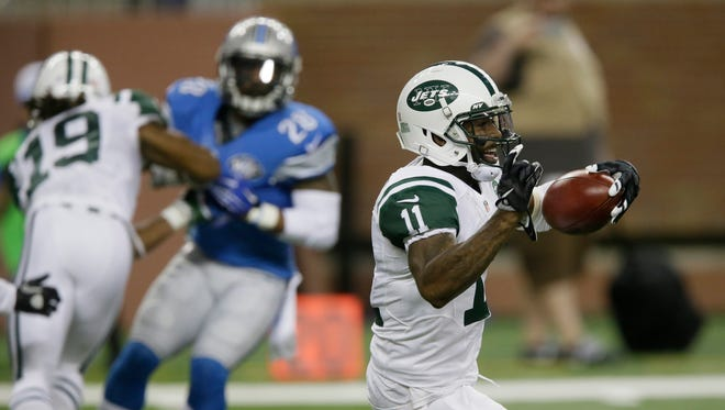 New York Jets wide receiver Jeremy Kerley carries the ball against the Detroit Lions during the first half of an NFL preseason football game, Thursday, Aug. 13, 2015, in Detroit.  Kerley is now a Lion.