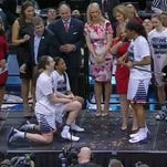 UConn women's seniors knighted each other