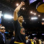 OAKLAND, CA - JUNE 19:  Richard Jefferson #24 of the Cleveland Cavaliers celebrates after defeating the Golden State Warriors 93-89 in Game 7 to win the 2016 NBA Finals at ORACLE Arena on June 19, 2016 in Oakland, California. NOTE TO USER: User expressly acknowledges and agrees that, by downloading and or using this photograph, User is consenting to the terms and conditions of the Getty Images License Agreement.  (Photo by Ezra Shaw/Getty Images) ORG XMIT: 643779267 ORIG FILE ID: 541551350