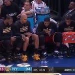 Cavaliers bench plays water bottle flipping game