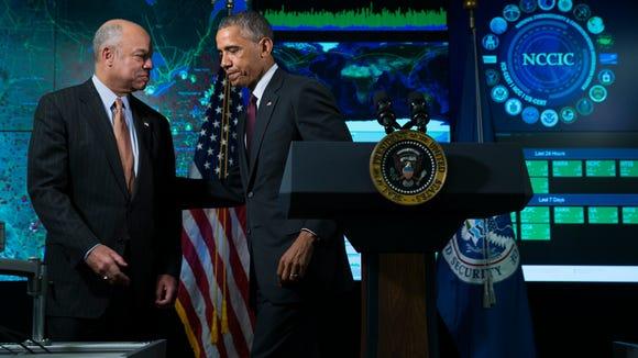 Homeland Security Secretary Jeh Johnson and President