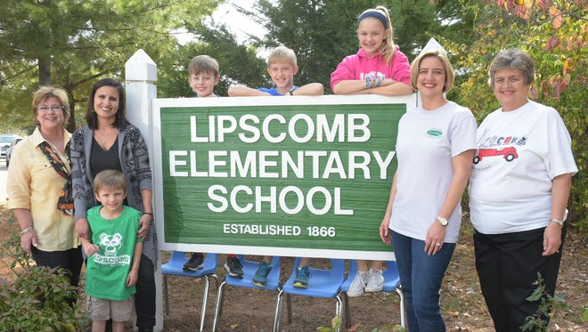Two families that span three generations at Lipscomb Elementary include former Lipscomb teacher Janet Paolsteen, left, with her daughter, former Lipscomb student and Brentwood Middle School teacher Jamie Chiariello and Chiariello's children and Lipscomb students Jake and Mikey; and former Lipscomb teacher Katie Adcox, right, and her daughter, former Lipscomb student and current bookkeeper Sally Auville, and Auville's children, Grant and Grace Oney.