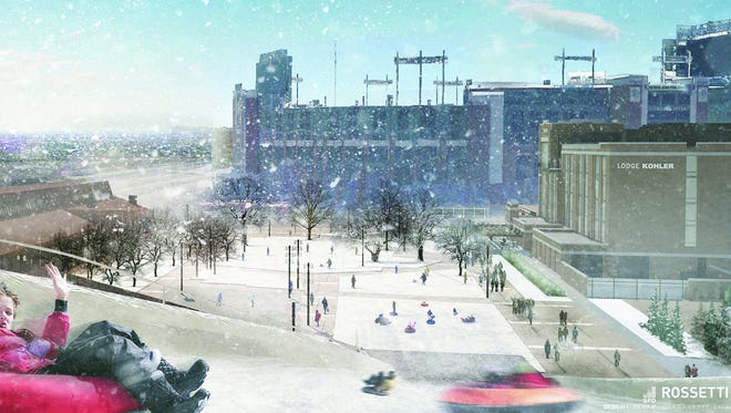 Rendering of the proposed tubing hill experience at Titletown District.