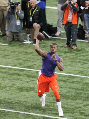Deshaun Watson throws near NFL scouts on Thursday during Clemson pro day at the indoor football facility in Clemson. Players evaluated are considered by 32 professional teams during the 2017 NFL Draft from April 27-29.